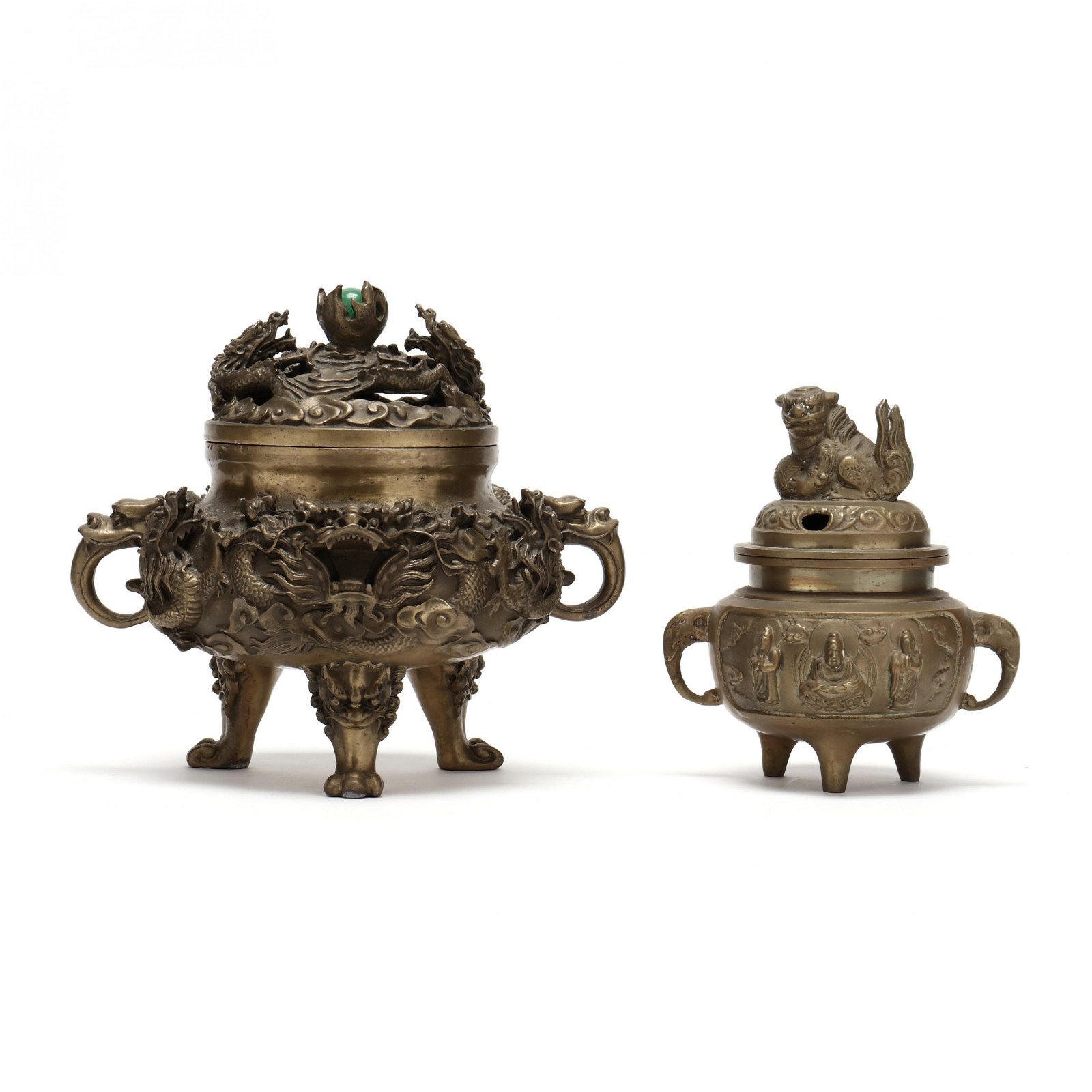Two Chinese Censers with Covers