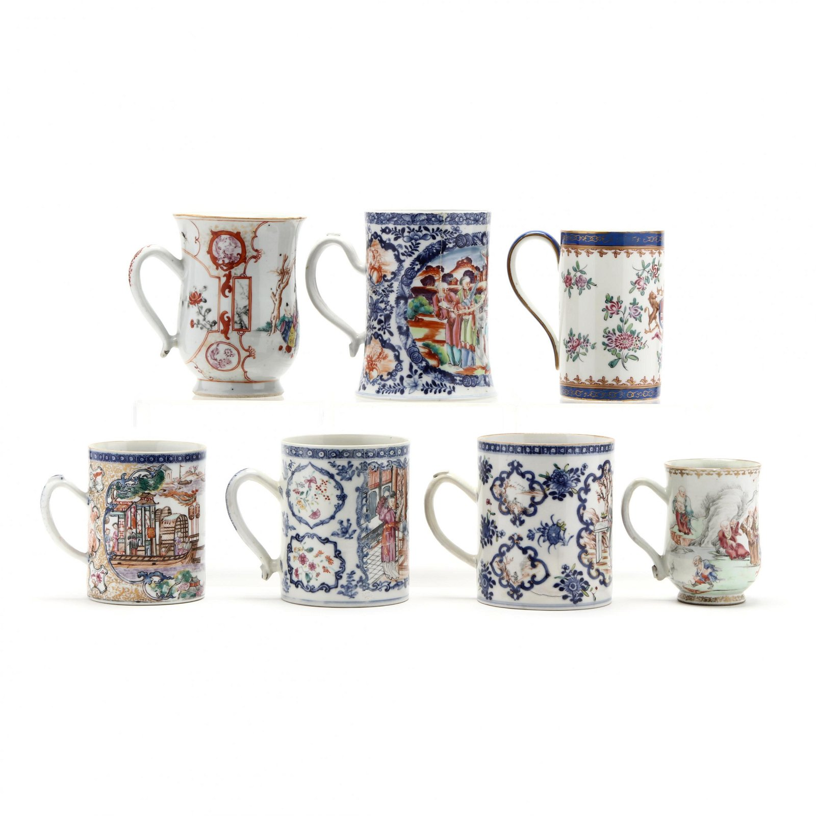 Seven Chinese Export Porcelain Mugs
