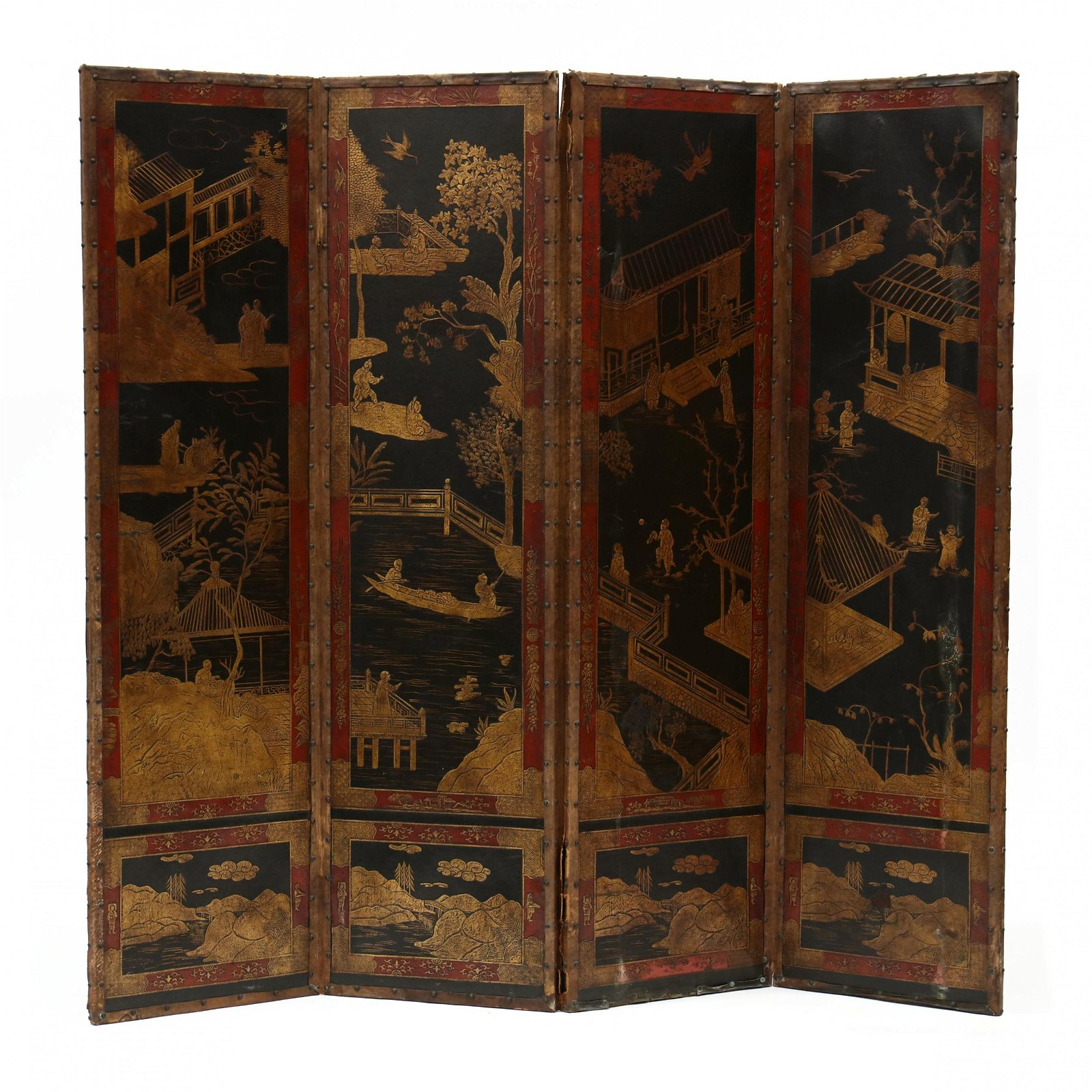 Vintage Chinese Painted Leather Floor Screen
