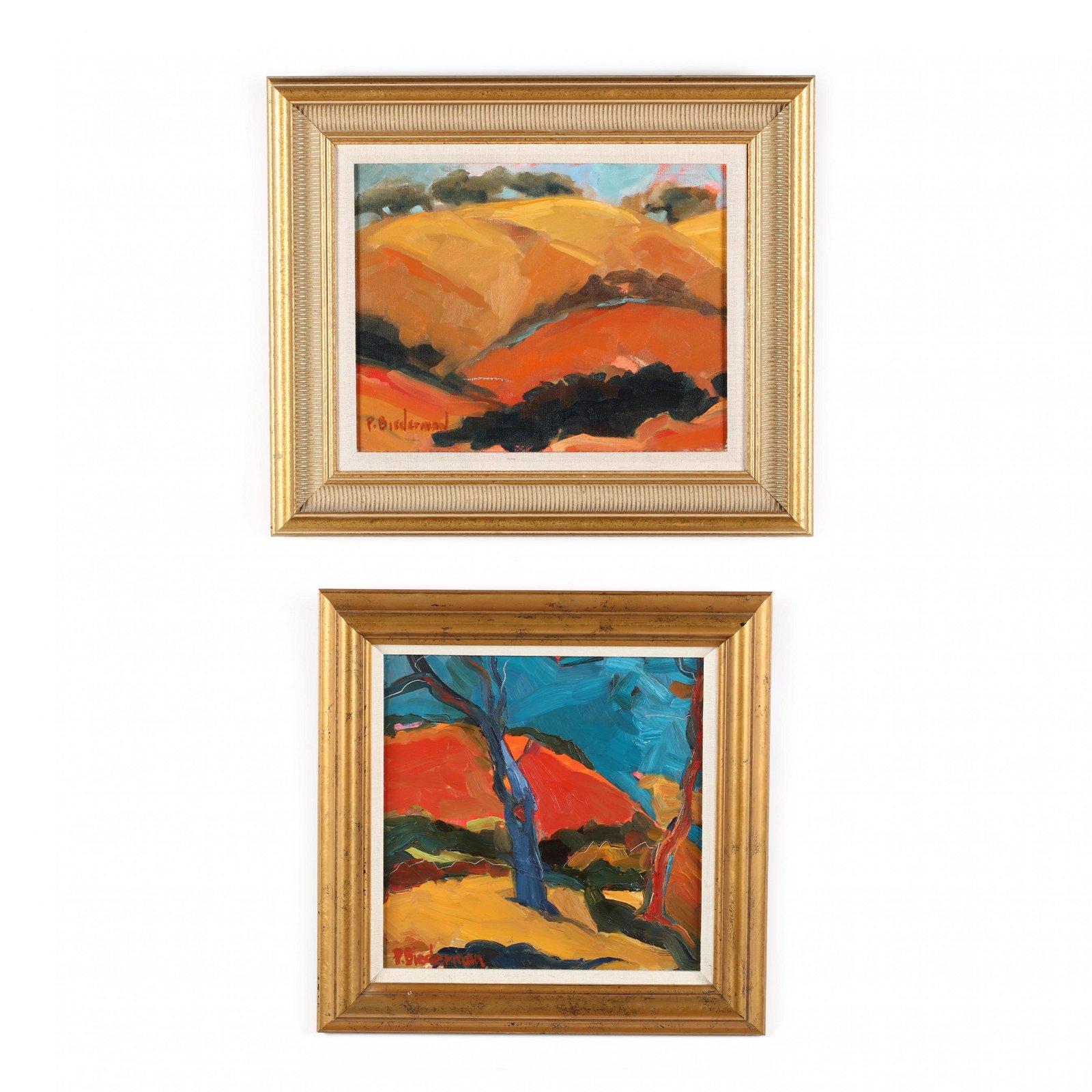 Patty Biederman (CA/VA), Two Landscape Paintings