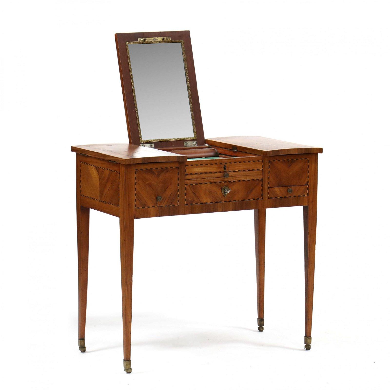 Antique Continental Inlaid Walnut Vanity