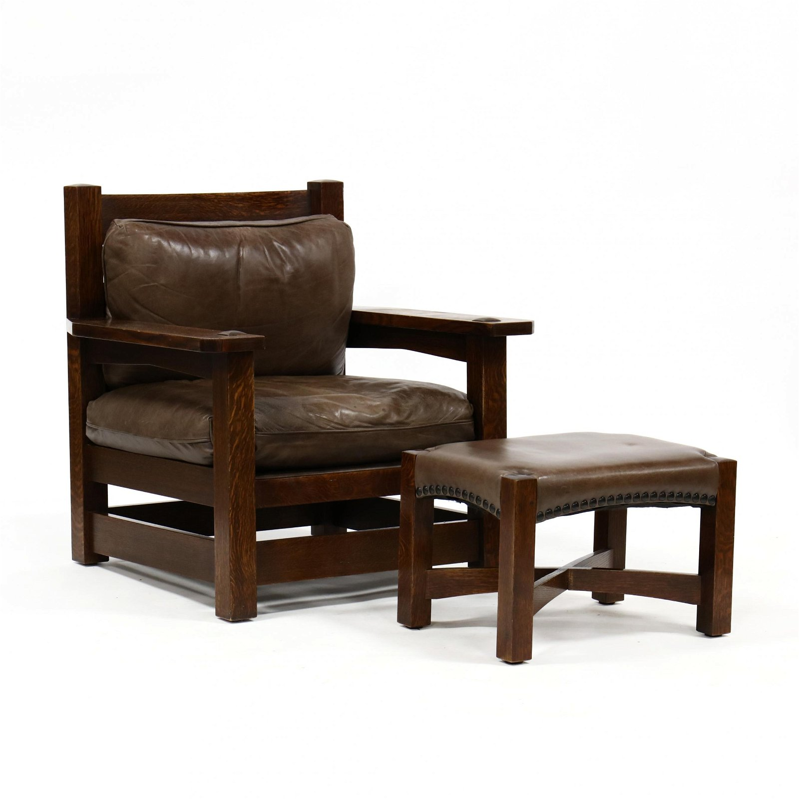Stickley, Oversized Mission Oak and Leather Armchair