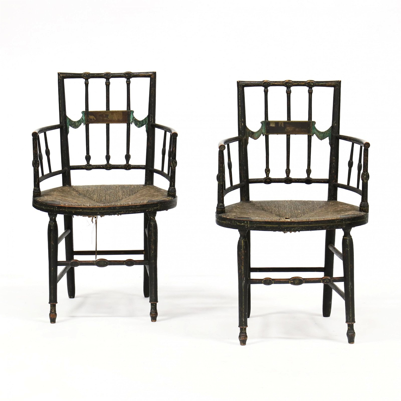 Pair of Antique Adam Style Painted Armchairs