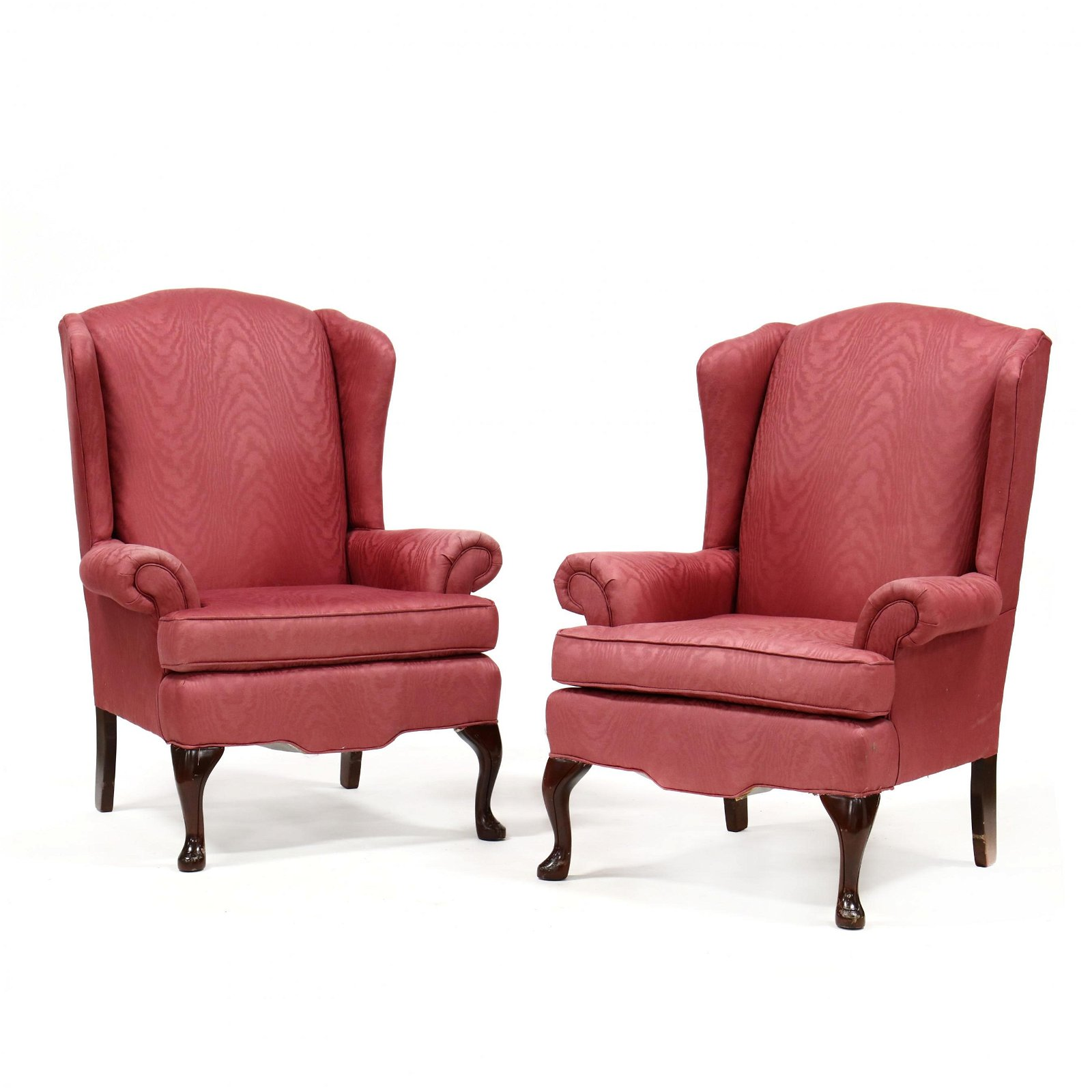 Pair of Queen Anne Style Easy Chairs