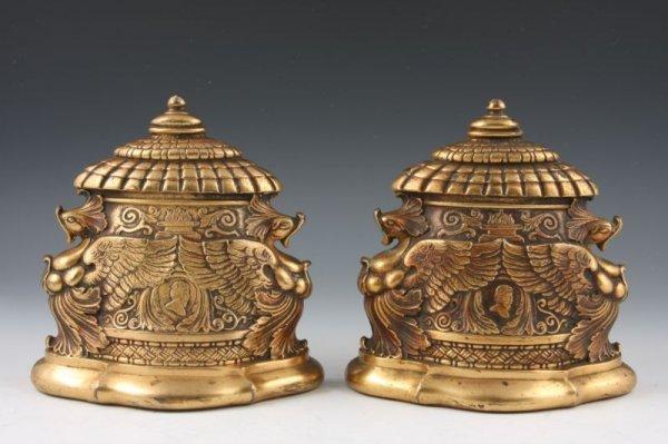 9: Tiffany Studios Gilt Bronze Bookends, ca. 1920,