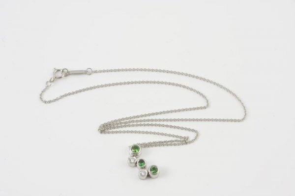 16: Tiffany Platinum, Diamond, & Tsavorite Pendant,