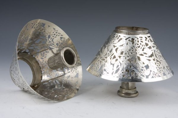 21: Pair of Tiffany & Co. Sterling Candle Shades,