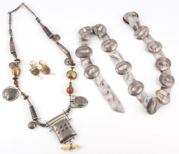 277: Carolyn Morris Bach Necklace, Earrings, and Belt,