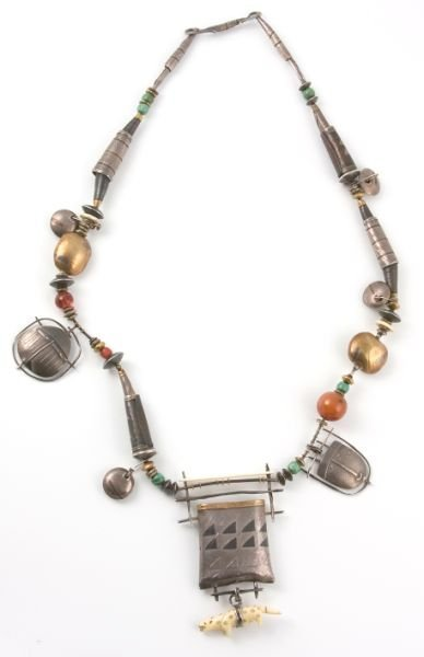 277: Carolyn Morris Bach Necklace, Earrings, and Belt, - 2