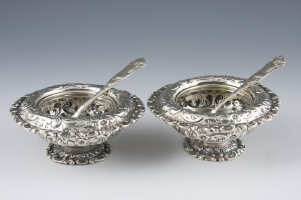 503: Pair of Sterling Silver Master Salts by Durgin,