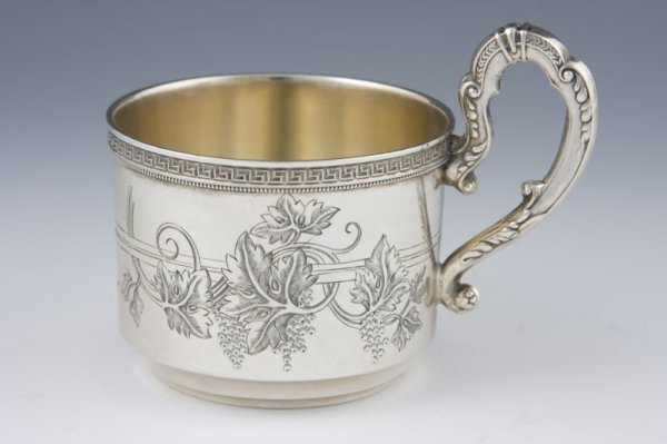 508: Russian Silver Handled Cup, early 20th c.,