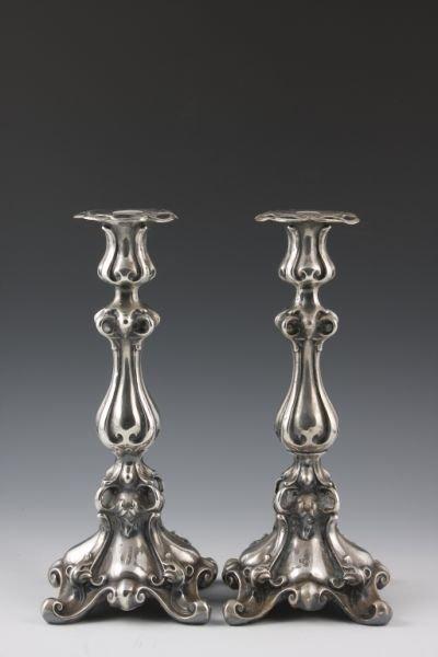 509: Pair of Silver Candlesticks, Polish, 19th c.,