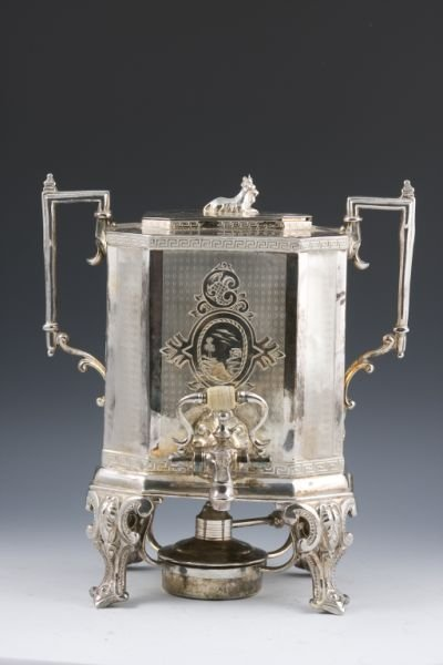 512: Silver Plated English Hot Water Urn, early 20th c.