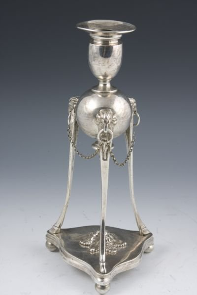 515: Neoclassical Style Silver Plate Candlestick,