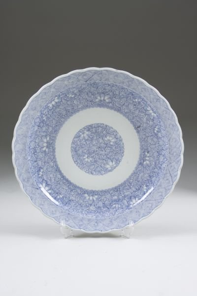 619: Large Japanese Blue & White Porcelain Charger,