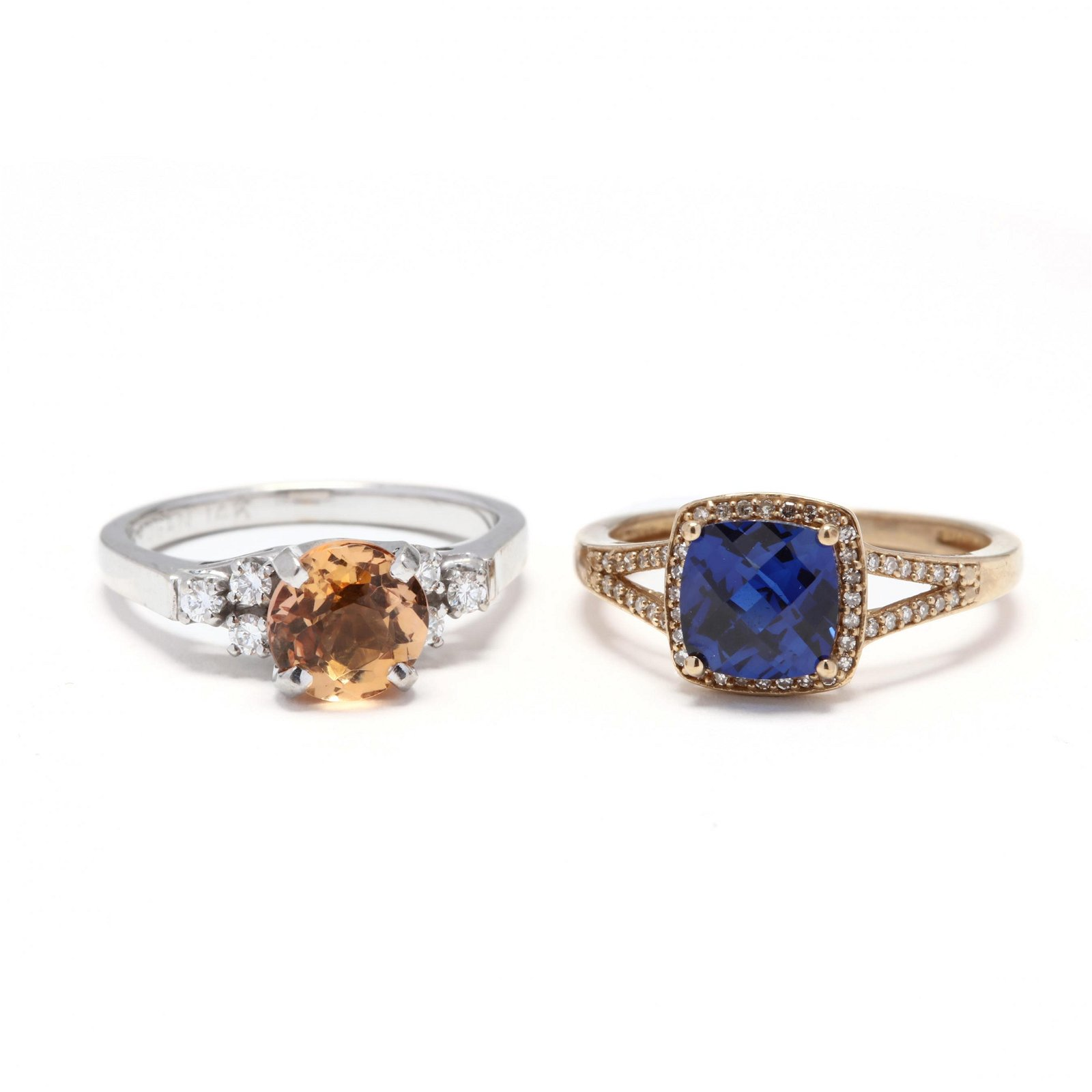 Two Gold, Diamond, and Gem-Set Rings