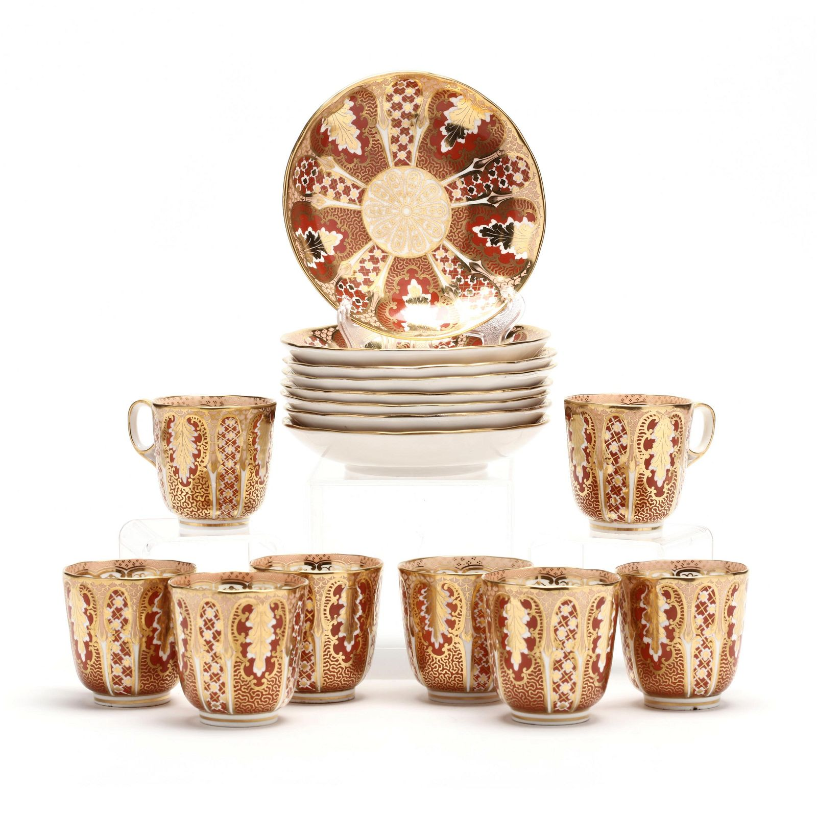 """Set of Eight Antique Davenport """"Acanthus"""" Teacups and"""
