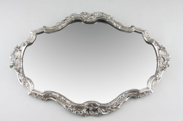 4: Victor Saglier Silverplated Mirrored Plateau,
