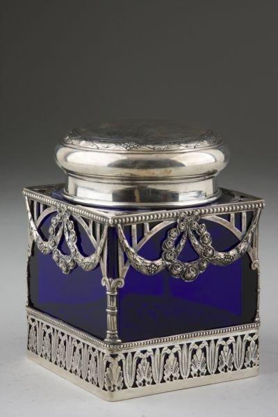 7: Silver & Cobalt Glass Tea Caddy, German,