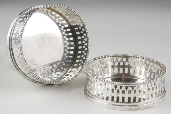 8: Pair of Silver Bottle Coasters, Dutch,