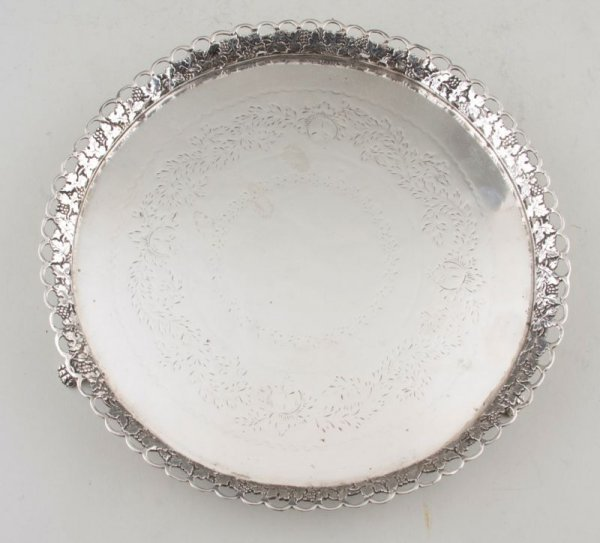 12: Silver Footed Salver with Gallery, late 18th c.,