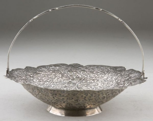 16: Chinese Export Silver Swing Handled Basket,