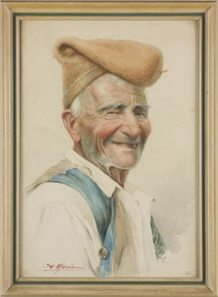 19: Augusto Moriani (It., 19th c.), Portrait of a Man,