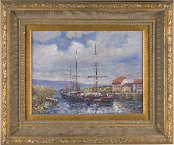 24: John Clymer (British, 20th c.), Ships at Rest,