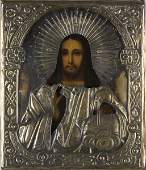 295: Russian Icon with Stamped Riza, late 19th c.,