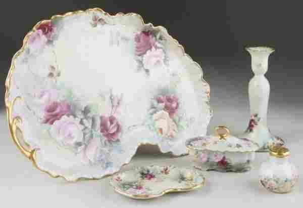 487: Limoges Hand-Painted Porcelain Dresser Set,
