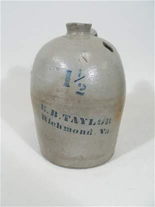 E. B. Taylor VA Pottery Salt Glaze Jug w/Cobalt,