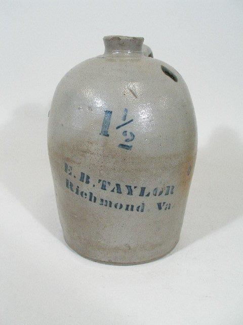 2: E. B. Taylor VA Pottery Salt Glaze Jug w/Cobalt,