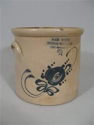NY Cobalt Decorated Stoneware Crock,