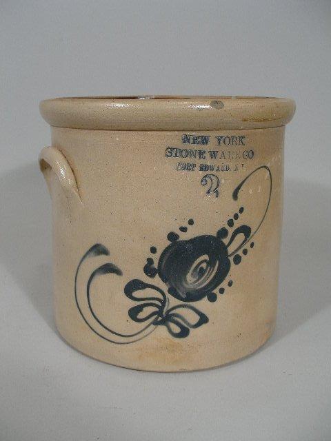 3: NY Cobalt Decorated Stoneware Crock,