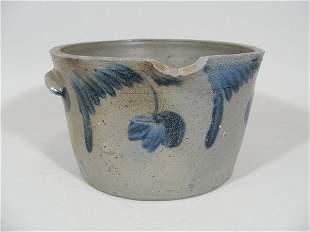 Cobalt Decorated Stoneware Batter Crock, 19th c.,
