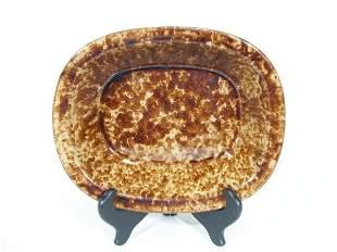 Rockingham Mottled Brown Spongeware Bowl,