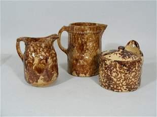 Group of Three Spongeware Pieces,