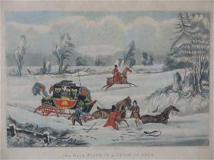 """Set of Four Hand-Colored Lithographs, """"The Mail Coa"""