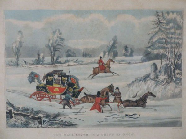 """16: Set of Four Hand-Colored Lithographs, """"The Mail Coa"""