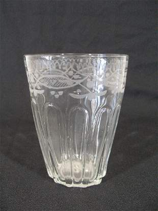 Large Engraved Flip Glass, 18th c.,