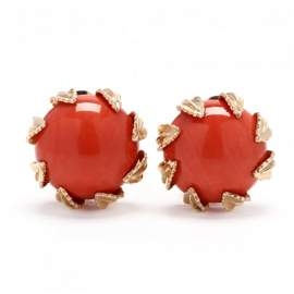 14KT Gold and Coral Earrings