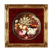 Victorian Fruit and Flower Still Life on Porcelain