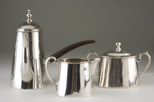 3: Three Piece Sterling Coffee Service, Mexican,