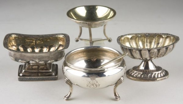 12: Group of (4) 19th c. Silver Salts, Russian,