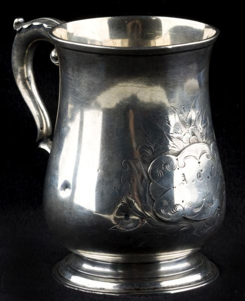 13: 18th c. English Sterling Mug with SC Association,