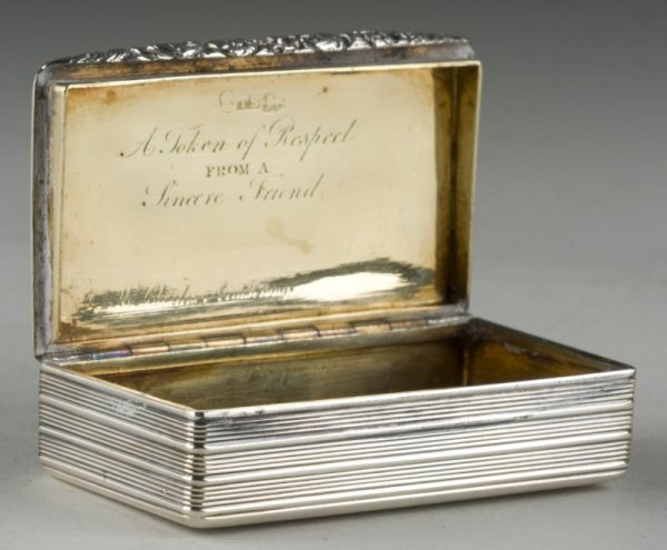17: 19th c. Georgian Sterling Silver Snuff Box,