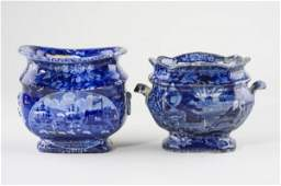 82: (2) Pcs. Historical Blue Lafayette Staffordshire,