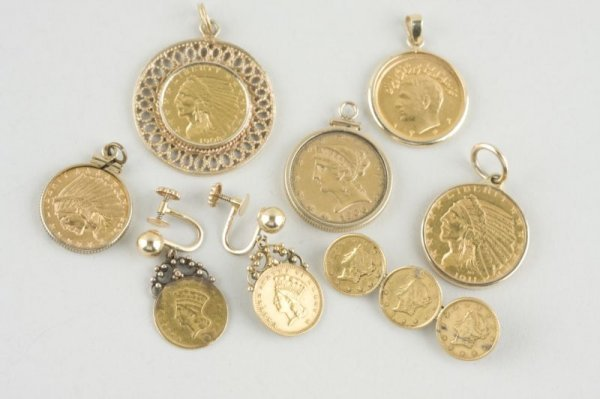 414: (8) Antique Gold Coins Set as Jewelry ,