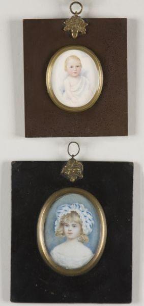 Two Miniature Portraits of Children, I9th c.,