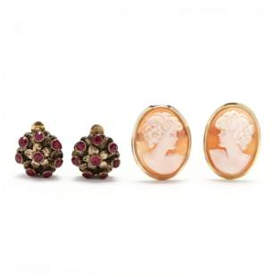 Two Pairs of Gold Earrings